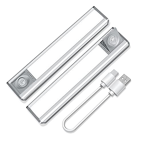 Under Cabinet Light Rotary Sensor,2 Pack Wireless 72 LED Rechargeable Cupboard Light,Dimmable Motion Sensor Night Light with Magnetic Stick on Anywhere for Closet Wardrobe Kitchen Garage Shed Counter