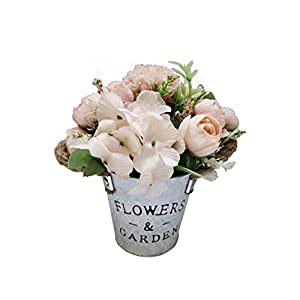 Charmly Artificial Flowers Potted European Style Design Silk Rose Arrangements for House Office Restaurant Table Centerpieces Windowsill Decor