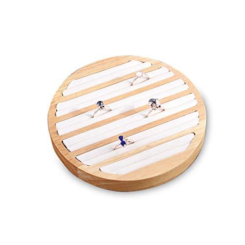 Koobysix Bandeja de exhibición de anillo de madera de bambú redonda 6 ranuras largas almacenamiento de joyería de cuero