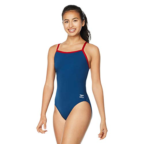 Speedo Women's Swimsuit One Piece Endurance+ Flyback Solid Adult Team Colors Navy/Red, 38