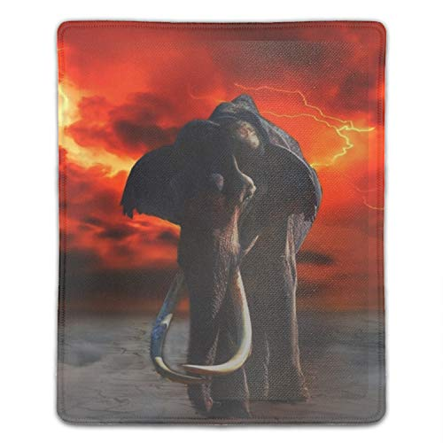 Mouse pad, Personalized Unique Design Oblong Shaped Mouse Pad Elephant Lightning Fantasy