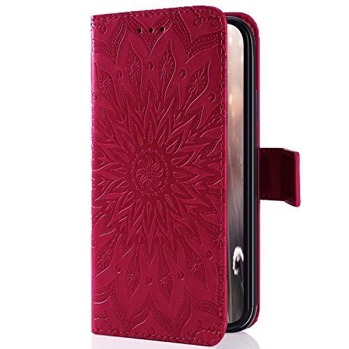 Uposao Kompatibel mit Handyhülle Galaxy J1 2016 Leder Tasche Schutzhülle Brieftasche Handytasche Retro Vintage Henna Mandala Blumen Ledertasche Lederhülle Klapphülle Hülle Flip Cover,Rose Rot