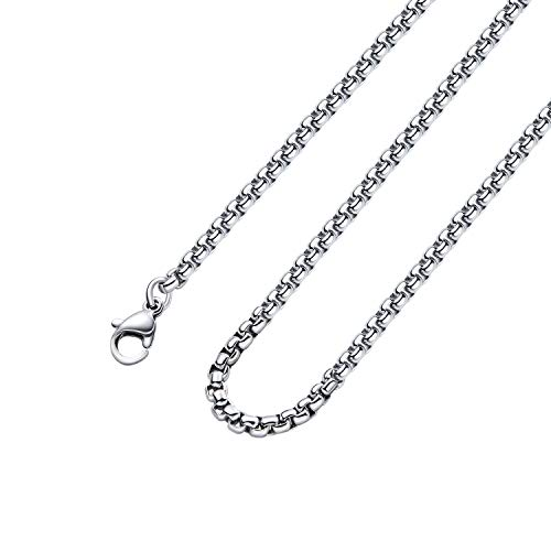Monily 2-7mm 16-36In Square Rolo Stainless Steel Chain Necklace Round Box Necklace Men Women Jewellery