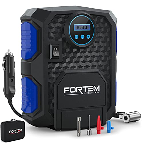 FORTEM Tire Inflator Portable Air Compressor, Bike Tire Pump, 12V Electric Air Pump for Car Tires and Bicycles w/LED Light, Digital Tire Pressure Gauge w/Auto Pump/Shut Off, Carrying Case (Blue)