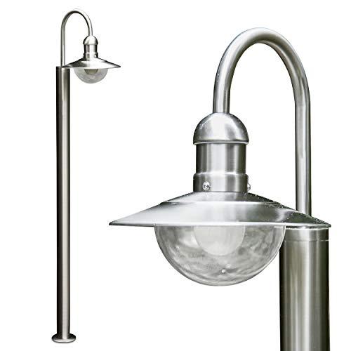Außenleuchte Elima, Stehleuchte aus Edelstahl in modernem Design, mit Lampenschirmen aus Glas, 1-armige Wegeleuchte 140 cm, Gartenlampe mit E27-Fassung max. 60 Watt, IP44