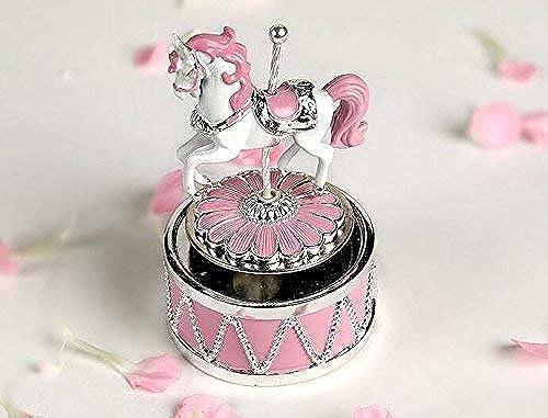 OIBHFO Home Rosa rotierende Karussellpferd-Spieluhr mit Musik des Schlosses im Himmel Farbe Rosa für Weißnachten Geburtstag Valentinstag Interessantes Spielzeug