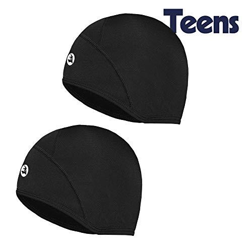 EMPIRELION Kids Lightweight Helmet Liner Teens Thin Thermal Skull caps Cover Ears Beanie Child Running Hats for Boy & Girl (Black(2 Pack):Juniors x 2)