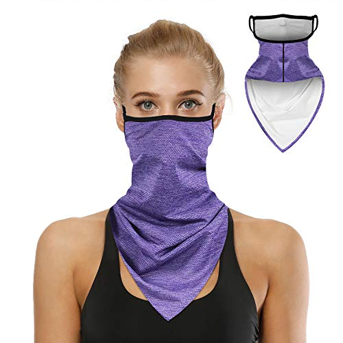 Bandana Face Mask for Men Women, Neck Gaiter Ear loops Rave Face Covering Scarf, Purple