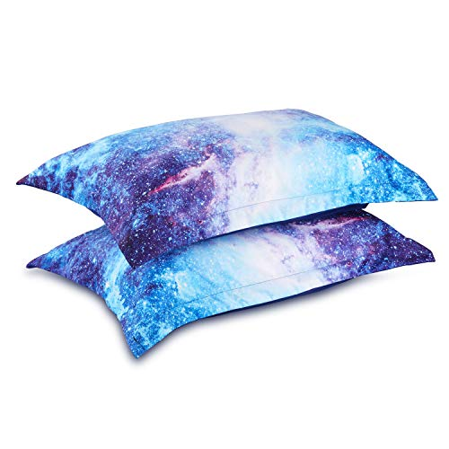 Wowelife 3D Galaxy Pillow Cases Set of 2 in Size 20''x 29'' for Galaxy Comforter Sets Blue(2 Pillow Cases)