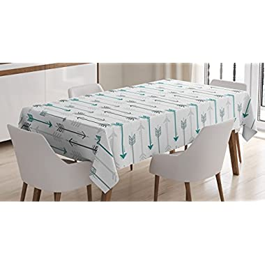 Teal Decor Tablecloth by Ambesonne, Retro Arrow Pattern In Horizontal Line Heading To Opposite Directions Artwork, Dining Room Kitchen Rectangular Table Cover, 60 X 84 Inches