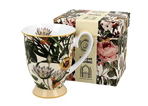 Duo Secret Garden Royal - Taza de café y té (porcelana, 325 ml, en caja de regalo), diseño de flores
