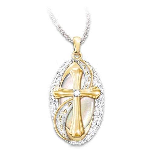 MNMXW Collar Wen Collar Nuevo Dos Colores Cristiano Jesús Rhinestone Cruz Colgante Collar Moda Clásico Elegante Dama Joyería Regalo