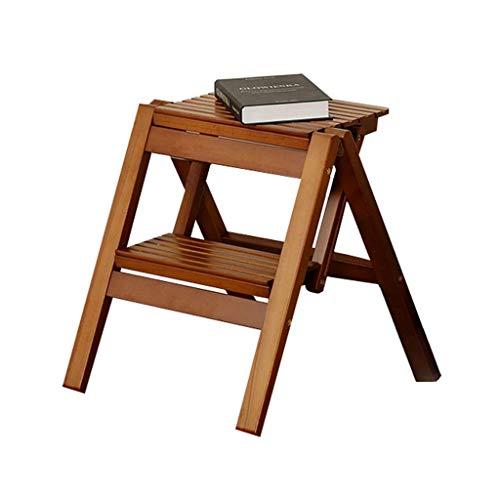 WARM KAMER Vouwstoelen, Multifunctionele Houten Stap Kruk Draagbare Kleine Bank Eenvoudige Mini Bloem Stand Kleine Mazza Outdoor Vouwen 2 -Step Ladder