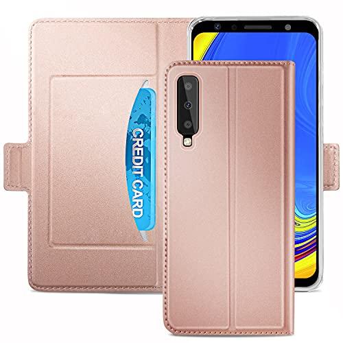HoneyHülle für Handyhülle Samsung Galaxy A7 2018 Hülle Premium Leder Flip Schutzhülle für Samsung Galaxy A7 2018 Tasche, Rose Gold