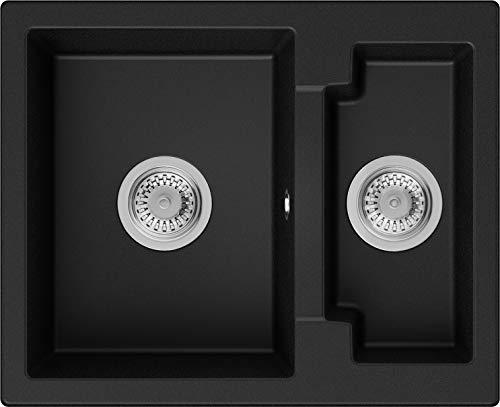 PRIMAGRAN Fregadero de Granito 59,5 x 48,5 cm, Lavabo Cocina 1,5 Senos + Sifón Clásico, Fregadero Empotrado Paris, Negro