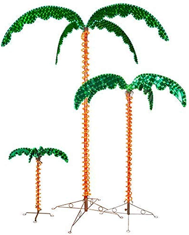 LED Deluxe Rope Light Palm Tree Green 7 Deluxe LED Lighted Palm Tree