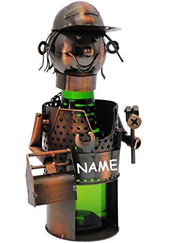 alles-meine.de GmbH Flaschenhalter / Flaschenständer -  Handwerker / Klemptner / Heimwerker  - incl. Name - aus Metall - 40 cm - ideal für Piccolo, Wein, Sekt, Bier u.v.m. - Bi..