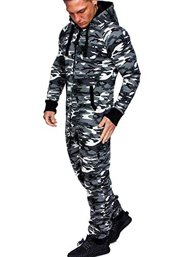 Amaci&Sons Herren Overall Jumpsuit Jogging Onesie Trainingsanzug Camouflage 3001 Camo Weiß 3XL