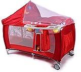 Mopoq Plegable Cuna de Viaje Cuna y vestidor con colchón y Ruedas, Bolsa de Juguetes Abertura Lateral (Color : Rojo)