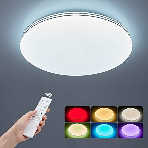 Modern Deckenlampe 36W Anten Deckenleuchte RGB LED 3000K-6500K Dimmbar mit Fernbedienung Ø40cm Deckenbeleuchtung Sternendeckenlampe für Wohnzimmer Kinderzimmer Schlafzimmer, Silberrahmen