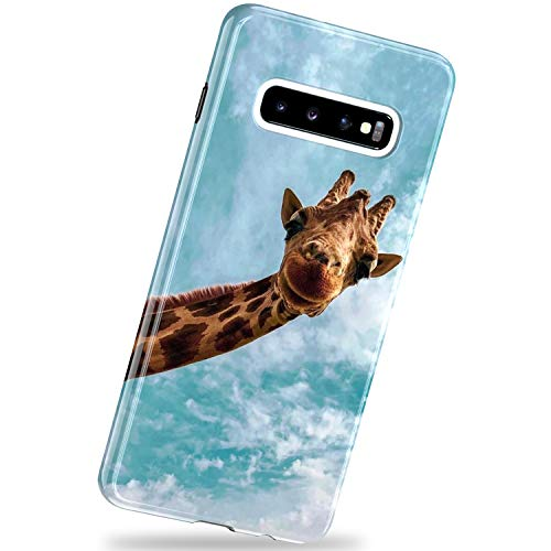 VIVIBIN Samsung Galaxy S10 Plus Case,Hello Giraffe for Men Women Girls,Drop Protection Slim Fit Silicone TPU Cover with Clear Bumper Protective Phone Case for Samsung Galaxy S10 Plus 6.4 inch 2019