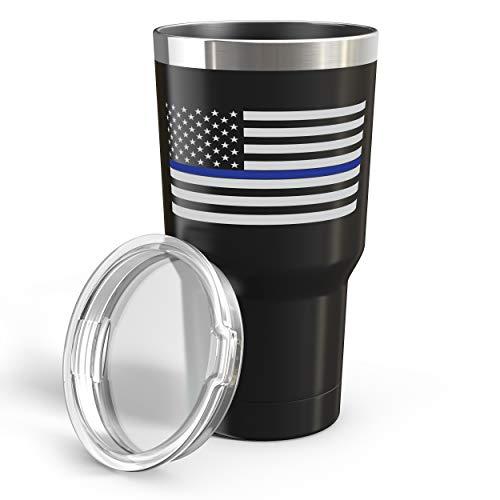 Thin Blue Line Reisebecher mit amerikanischer Flagge, Edelstahl, doppelwandig, 880 ml