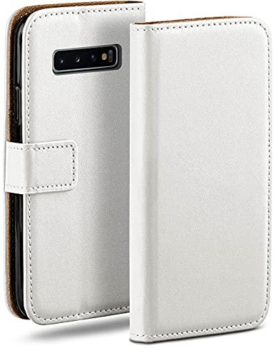 moex Klapphülle für Samsung Galaxy S10 Hülle klappbar, Handyhülle mit Kartenfach, 360 Grad Schutzhülle zum klappen, Flip Hülle Book Cover, Vegan Leder Handytasche, Weiß