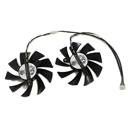 2 PCS/Lot DATALAND RX580 GPU Tarjeta de gráficos Ventilador para Radeon PowerColor Rojo Diablo Golden Sample RX 580 8GB GDDR5 Tarjeta de Video Refrigeración