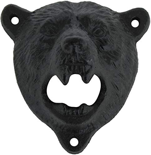 Cast Iron Wall Mount Grizzly Bear Teeth Bite Bottle Opener product image