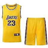 JX-PEP Uniforme de Baloncesto, 23 Uniforme de Baloncesto, Traje de Verano Camiseta Suelta Chaleco Deportivo Top + Pantalones Cortos,Amarillo,S