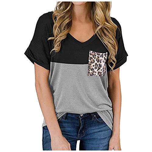 Ba Zha HEI Elegant Frauen Modisch Damen Kurzarm V-Ausschnitt Rippstrick-T-Shirt T-Shirt Top Damen Sommer Oversize Kurzarm Tiefe V-Ausschnitt Sehr Angenehm zu Tragen Bluse Tunika Tanktop (Schwarz, XL)
