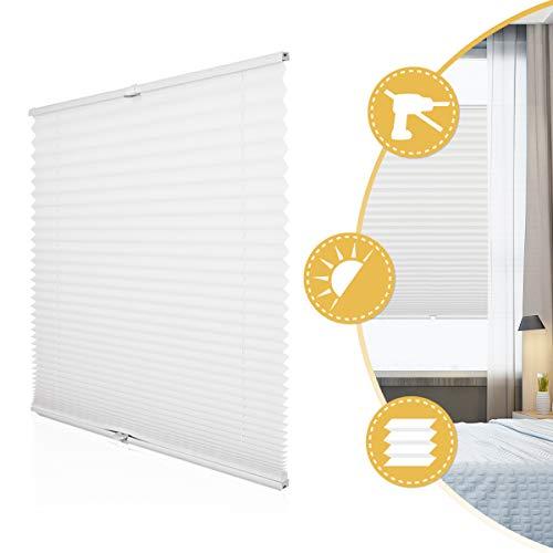 Deswell Plissee Rollo Jalousie Ohne Bohren Klemmfix für Fenster & Tür Weiß 35 x 100 cm (Breite x Höhe), Plisseerollo Stoff Sonnenschutz Leicht zu Montieren & Verspannt