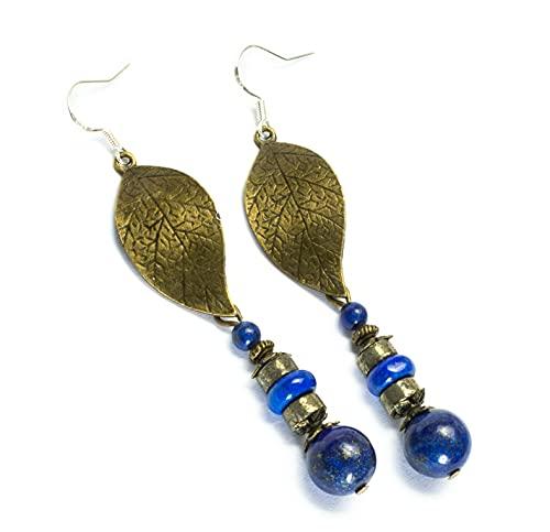 Kimaya - Pendientes artesanales de pirita y lapislázuli, grandes hojas color bronce con ganchos de plata 925