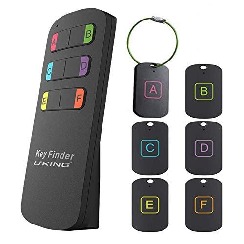 UKing - Localizador de llaves inalámbrico 6 en 1, localizador de artículos RF, dispositivo con control remoto, ideal para rastrear llaves, carteras, bolsas de mascotas y cualquier artículo perdido