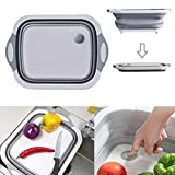 Huanlemai Collapsible Cutting Board with Colander Function, Folding Kitchen Chopping Board Food Strainer Silicone Dish Tub Basin Washing and Draining Veggies Fruits Sink Storage Basket