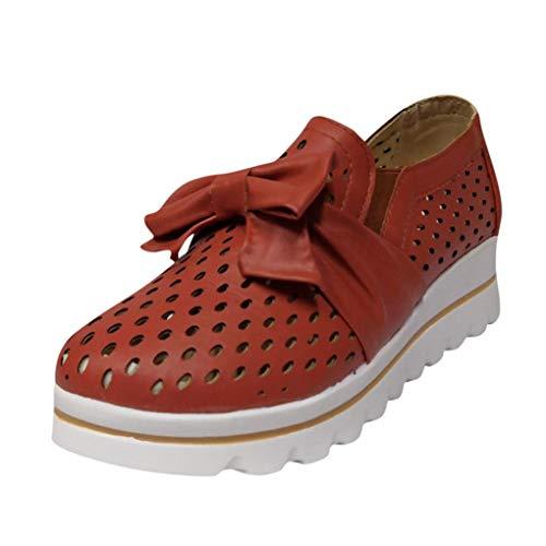 Dorical Damen Mokassins Loafers,Halbschuhe Sneaker mit Bow Plateau Schlupf Loafers mit Keilabsatz Plattform Outdoor Slip On Schuhe Gr 35-43 EU(Rot,40 EU)