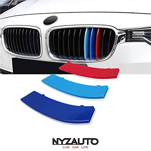 NYZAUTO M-Colored Stripe Grille Insert Trims Compatible with 2013-2018 BMW F30 3 Series 316i 318i 320i 328d 328i 335i 340i Kidney Grill (11 Beams, Not Fit 8 Beams)
