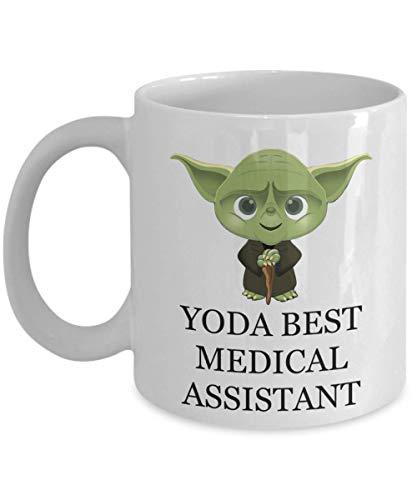 N\A Taza de Yoda Best Medical Assistant Regalo de cumpleaños Juego de Palabras de Navidad para el Personal del Empleado Esposo Hombres Él Mujeres Star Wars Jedi Fans Taza de café