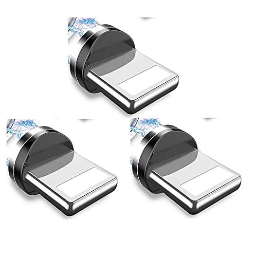 IVS 3 Adaptadores Conectores Compatible con iP -SOLO PUNTAS- Tips Iman Cabezal Clavija Magnetica para Cable de Carga Magnetico   Tapon Antipolvo para Movil   (3xPuntas iProducts)