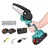 Mini Chainsaw,LAKE FOREST 4 Inch 24V 1.5Ah Cordless Power Chainsaw,ONE Hand Chainsaw for Wood Cutting, Tree Branch Pruning and Gardening(2 Batteries and 2 Chains)