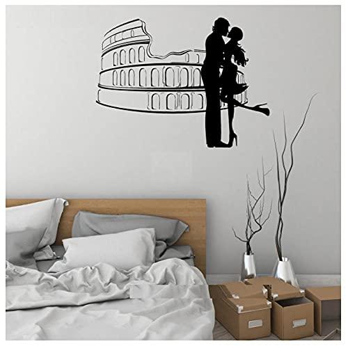 KBIASD Pegatina de pared de Roma para amantes de la decoración romántica del hogar calcomanías de pared con diseño de vinilo decoración de amor para el hogar pegatinas de pared para amantes de 76X57CM