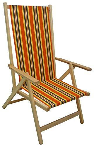 Sedia sdraio pieghevole prendisole in legno di faggio chiaro naturale con tela a righe schienale reclinabile regolabile in 2 posizioni per spiaggia campeggio piscina giardino da mare