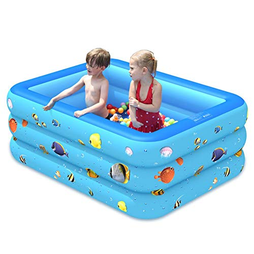Bozitian piscina hinchable Family Pool piscina piscina rectangular para niños a partir de 3 años, jóvenes y adultos para jardín y exterior – 2/3 capas, 130CM 3-lagig