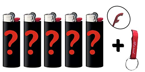All u need BIC Maxi Feuerzeuge Reibrad Lighter Neutral Flints Zündstein J26 5 Stück + Keyring Flaschenöffner (Zufällig)