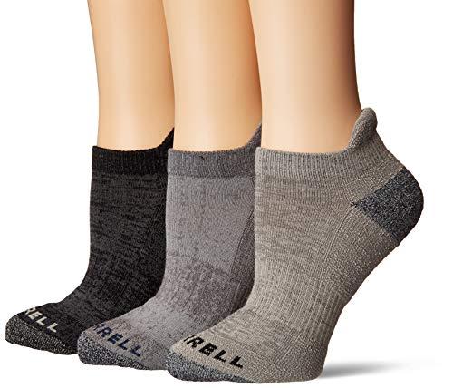 Merrell womens 3 Pack Cushioned Performance Hiker (Low Cut/Quarter/Crew) Casual Sock, Charcoal (Low Cut Tab), Shoe Size 4-10 US