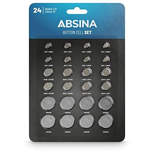 ABSINA 24er Pack Alkaline & Lithium Knopfzellen - 2X AG1 / 2X AG3 / 4X AG4 / 4X AG10 / 4X AG13 / 2X CR2016 / 2X CR2025 / 4X CR2032-1,5V & 3V Knopfzelle Sortiment auslaufsicher - Knopfbatterien