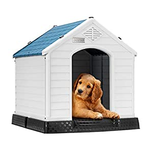 DEStar Durable Waterproof Plastic Pet Dog House Indoor Outdoor Puppy Shelter Kennel with Air Vents and Elevated Floor (Large – 33″ Height)