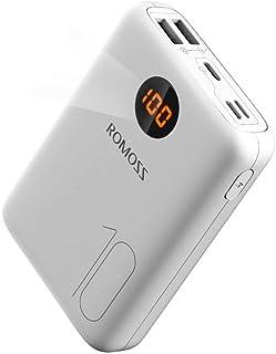 روموس شاحن محمول 10000mAh من النوع C مع شاشة عرض LED ، 3 مدخلات و 2 مخرج بطاريات بطارية خارجية ، Ultra Compact Power Bank ...