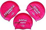 SWIMXWIN Cuffia in Silicone con Nome | Elena | Cuffia da Nuoto| Grande Comfort e aderenza | Design e Stile Italiano | Color Rosa |