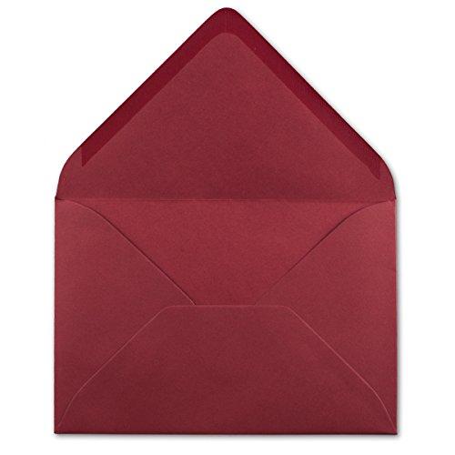 50 DIN C5 Briefumschläge Dunkelrot - 22,0 x 15,4 cm - 110 g/m² Nassklebung Post-Umschläge ohne Fenster ideal für Weihnachten Grußkarten Einladungen von Ihrem Glüxx-Agent